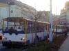 Odstavené trolejbusy #156 a v pozadí # 205. Hotel De Saxe. Výpadek napájení.- ©MHDTeplice.cz