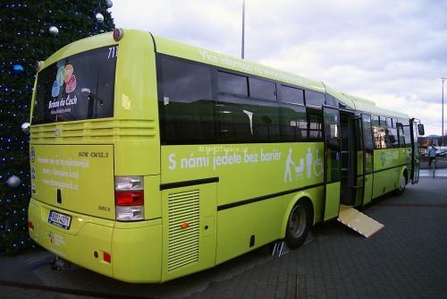 Informační akce a představení nových autobusů DÚK - OC Olympia 11. prosince 2014 - SOR CN 12.3 (#711).