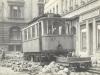 27. 9. 1953 vůz číslo 15 s pracovním vlečným vozem při rekonstrukci tratě pod radnicí | www.telma.unas.cz